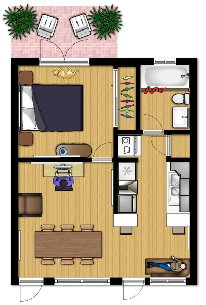 Small Apartment Design for Live/Work: 3D Floor Plan And Tour