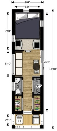 Lovebug2 Tiny House Couples Floor Plan