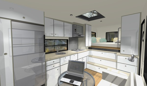 Interior with Skylight, Kitchen, Bedroom and Living Area