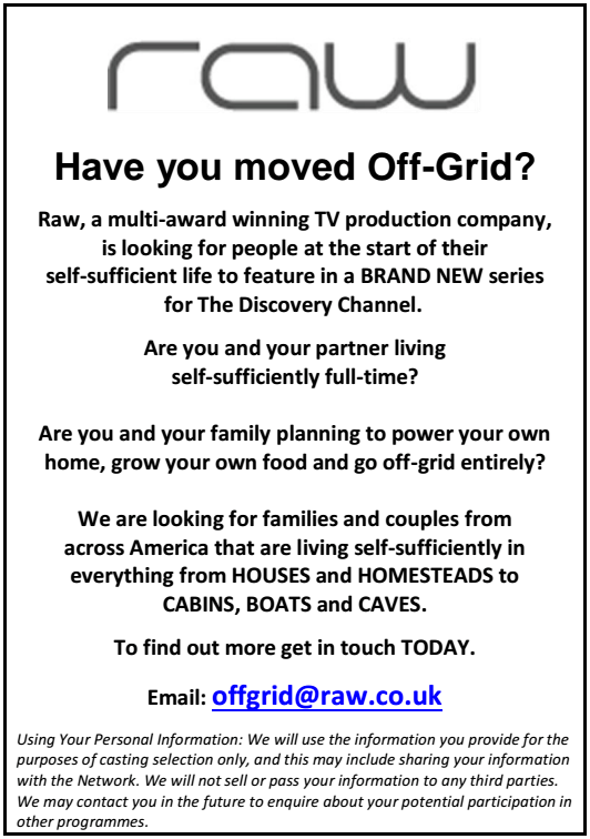 RAW Off Grid Living TV Show Casting