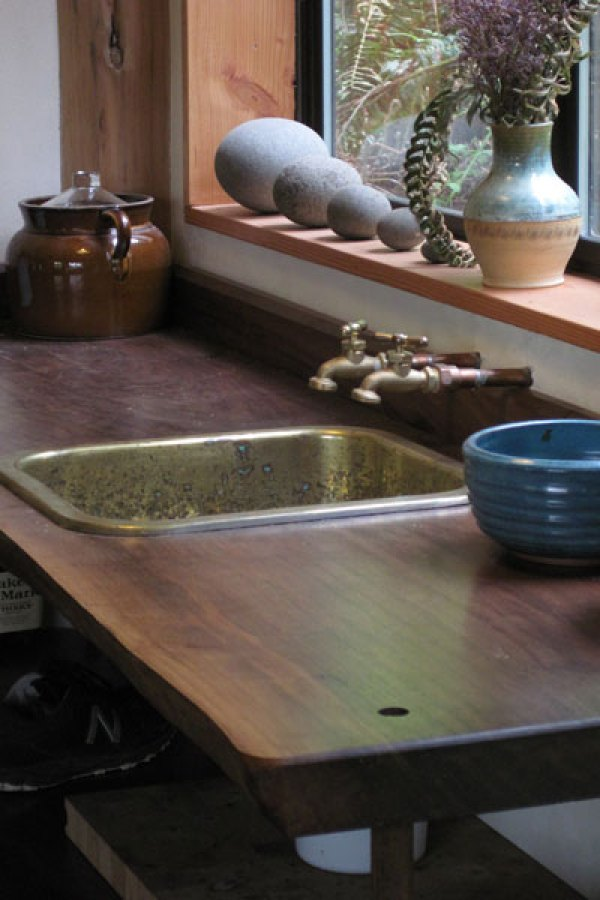 Simple, Japanese Inspired Tiny House / Zen Cabin in the Woods - Reclaimed Brass Sink