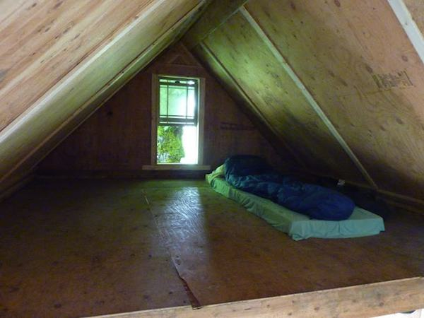 Sleeping Loft in Off Grid Cabin