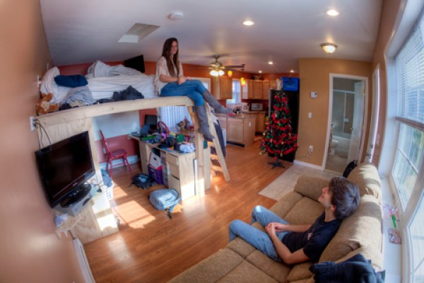 Psychology major Ashley L. Haugstatter and mechanical engineering major Michael J. Zella, pictured Tuesday, December 4, 2012, built a 400-square-foot home off campus in Endicott during the 2012 summer. Image JONATHAN COHEN