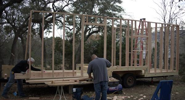 Wall framing on Steve and Wendys Tiny House