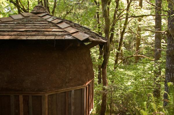 Tiny Dome Home in Nature with Roof and Earthen Plaster