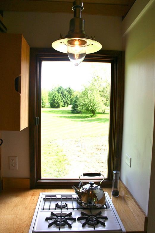 View from the kitchen in tiny house