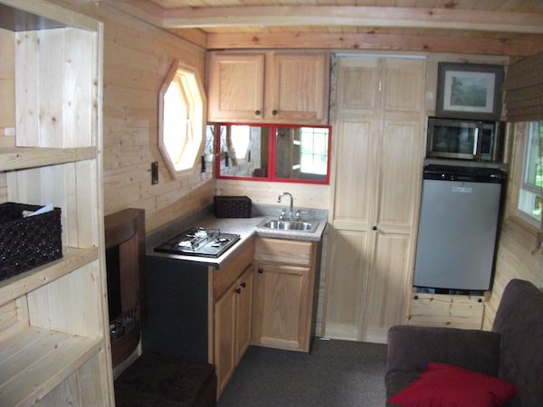 Inside the Tiny Log Cabin - Kitchen