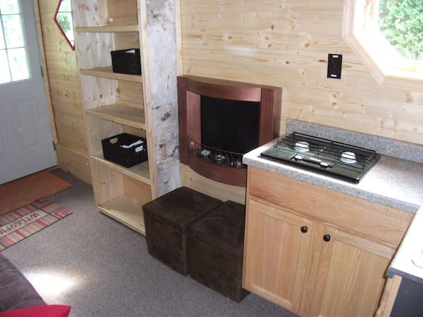 Inside the Tiny Log Cabin on a Trailer