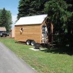 Tiny Log Cabin Rental on a Trailer