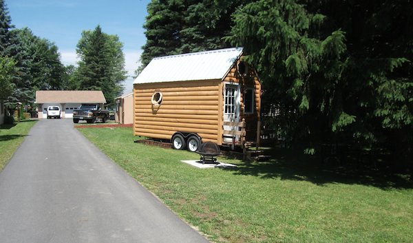 Tiny Log Cabin Rental on a Trailer