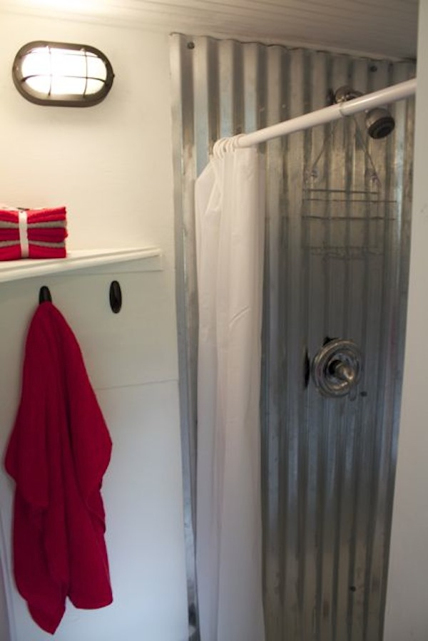 metal shower in tiny house