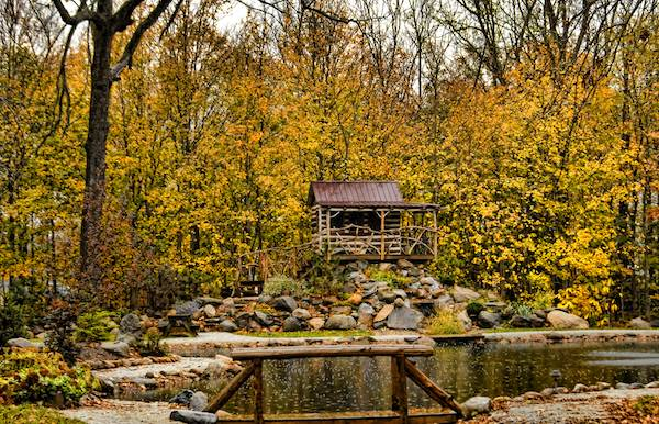 Trappers Tiny Cabin Bed and Breakfast in the Fall Indiana