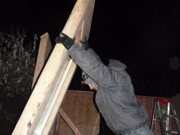 Travis Putting Cabin Panels Together
