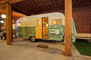 Vintage Travel Trailer Cottage in a Warehouse