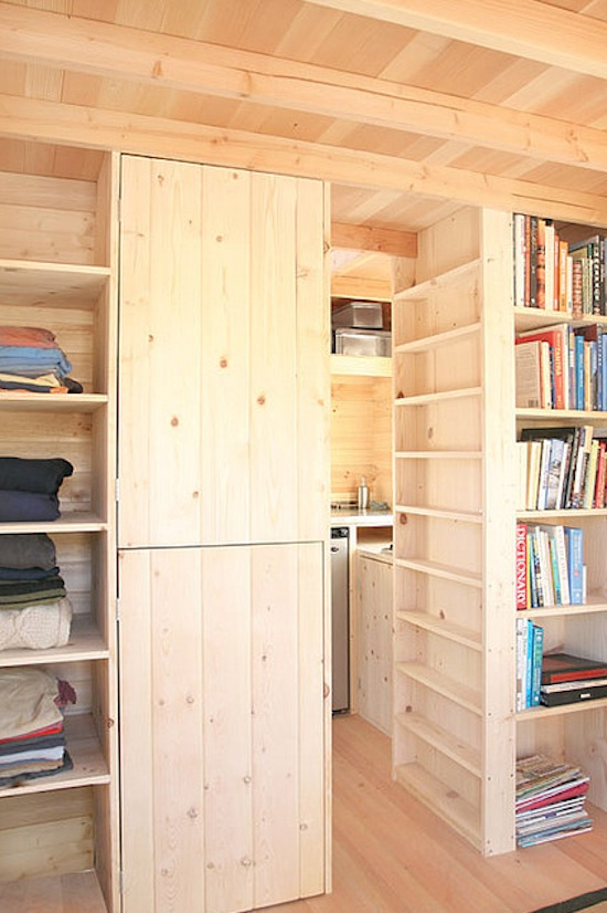 Tiny House Shelving and Storage in the Weebee by Jay Shafer