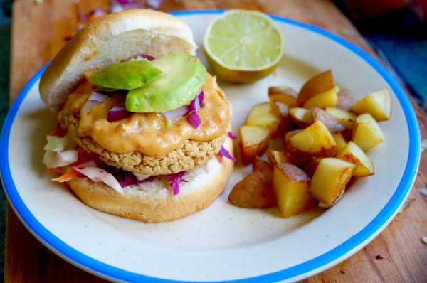vegan thai red curry burger