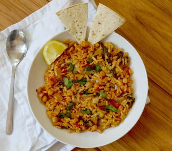 vegan Spanish chickpeas and rice