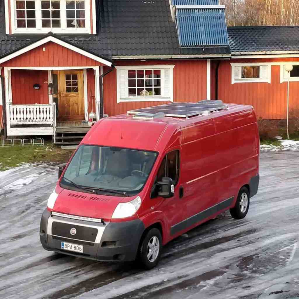 #vanlife in Finland with solar panels