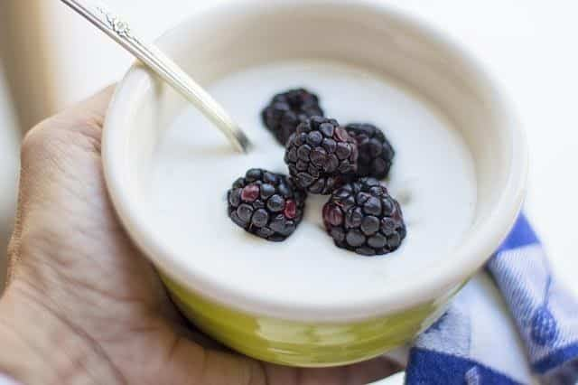 foraged dewberries in yogurt