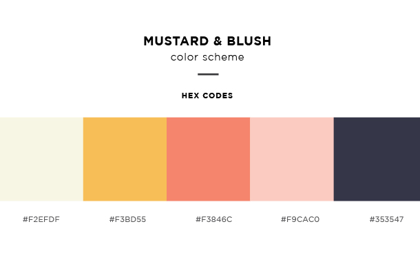 mustard and blush color scheme