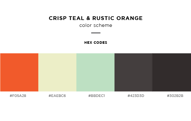 crisp teal and rustic orange color scheme