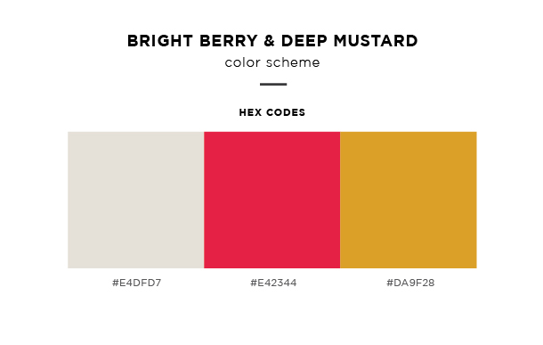 bright berry and deep mustard color scheme
