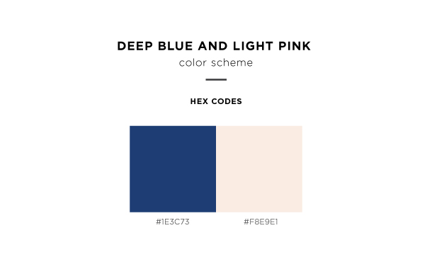 deep blue and light pink color scheme