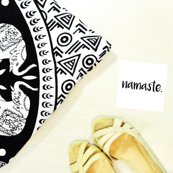 blanket, shoes, namaste