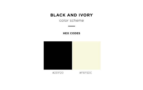 black and ivory color scheme