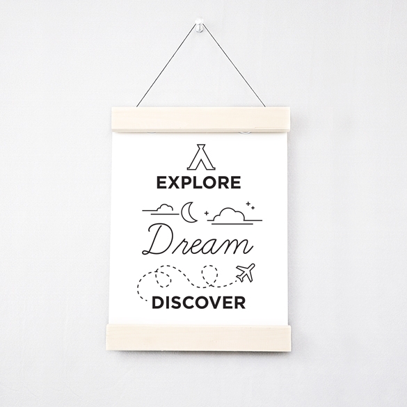 Poster that says 'explore, dream, discover'