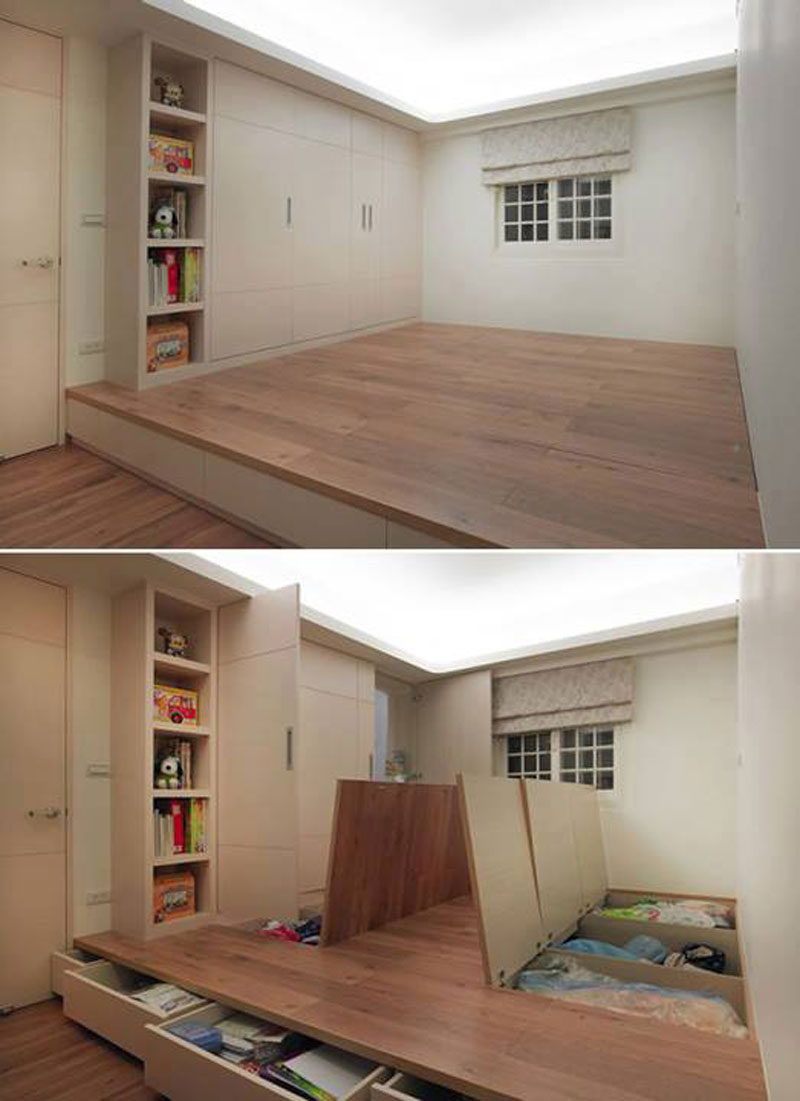 Elevated floor storage - Storage Solutions For Small Spaces
