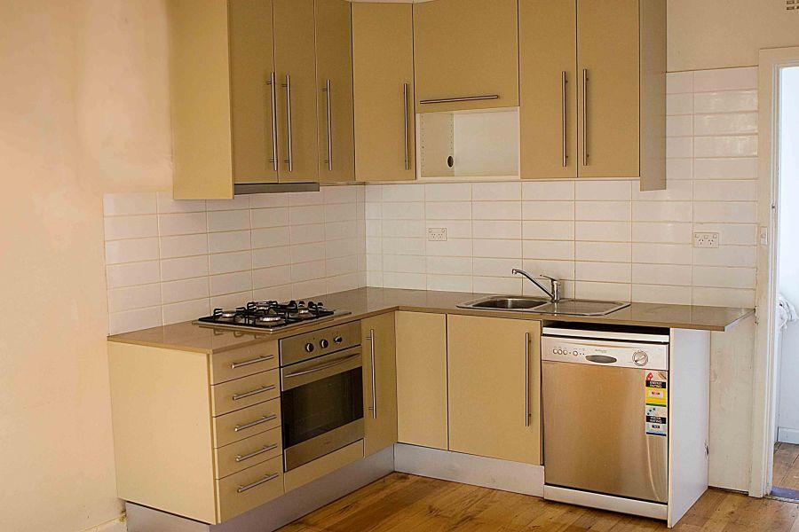Small Kitchen with Bright Cabinets - Minimalist Kitchen Hardware