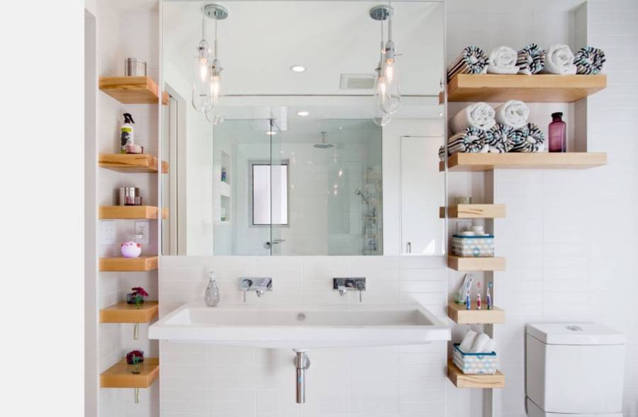 open-shelving-on-the-wall Small Bathroom Ideas