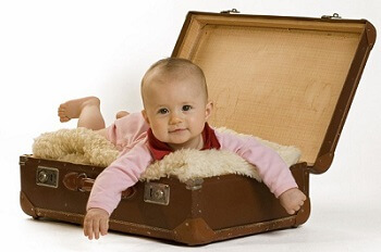Image of a cute baby in  a briefcase