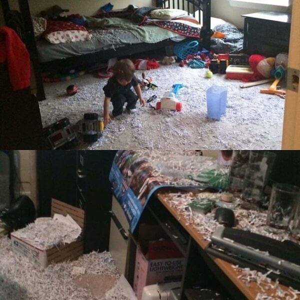 messy kid and shredded paper