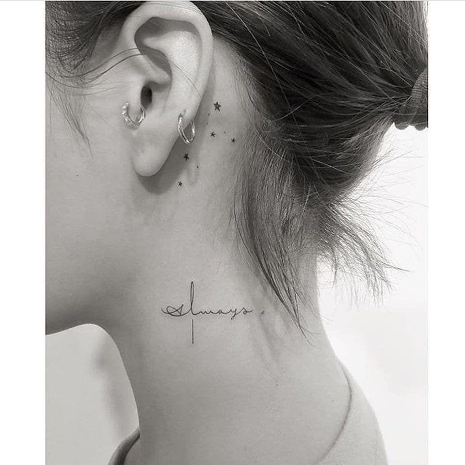 behind the ear little stars tattoos