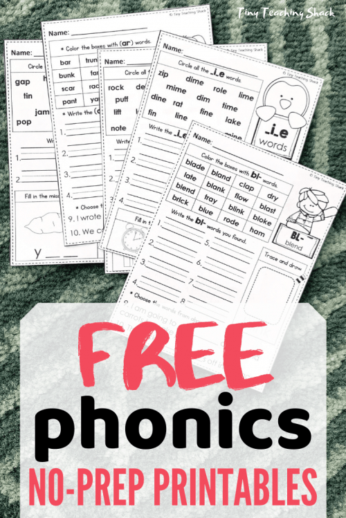 free phonics no prep printables and worksheets