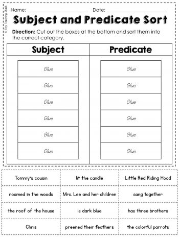 subject and predicate worksheeets