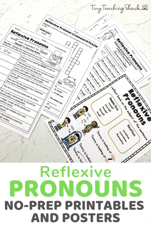 reflexive pronoun worksheets for second grade Common Core