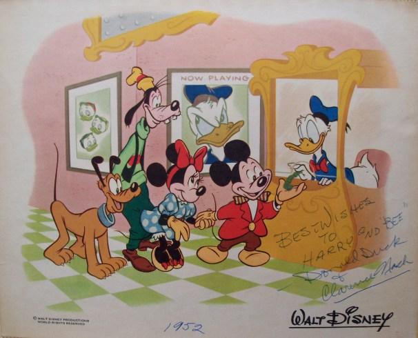 Donal Duck signed cartoon