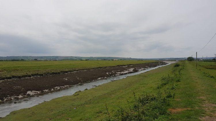 Walking the flood bank into Velator near Braunton