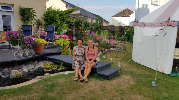 With Sarah in her beautiful garden