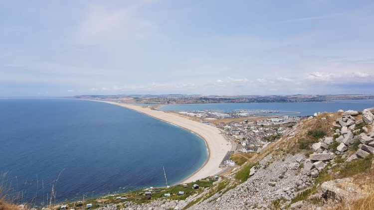 Looking back to Chesil beach