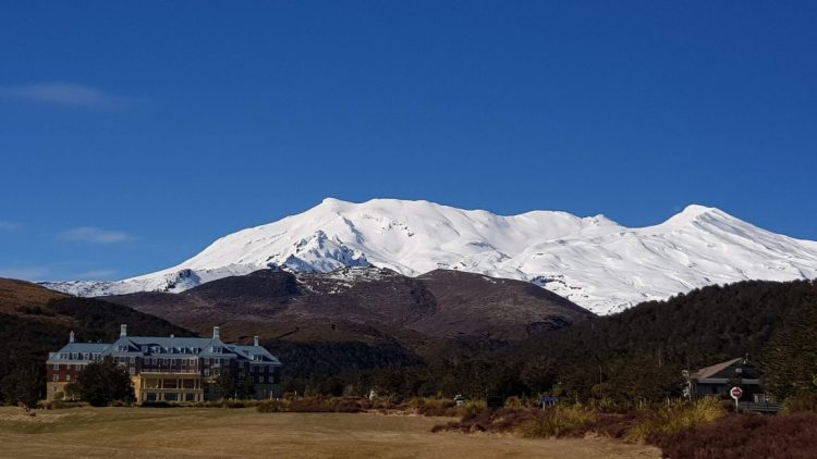 Chateau Tongariro and Mount Ruapehu