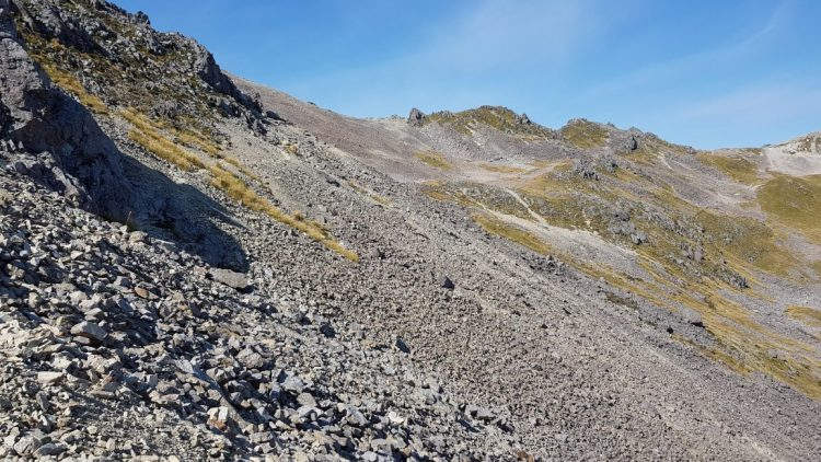 First significant rocky section near Julius summit