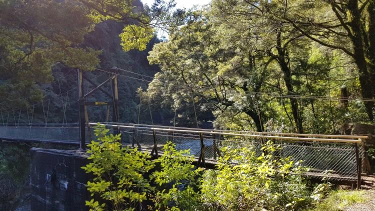 Suspension bridge across the Ngakawau river