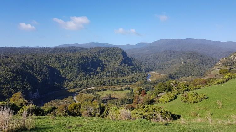 Looking inland to the Kahurangi National Park