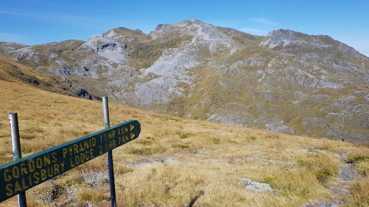 Taking the Gordons Pyramid Route, with Mount Arthur beyond