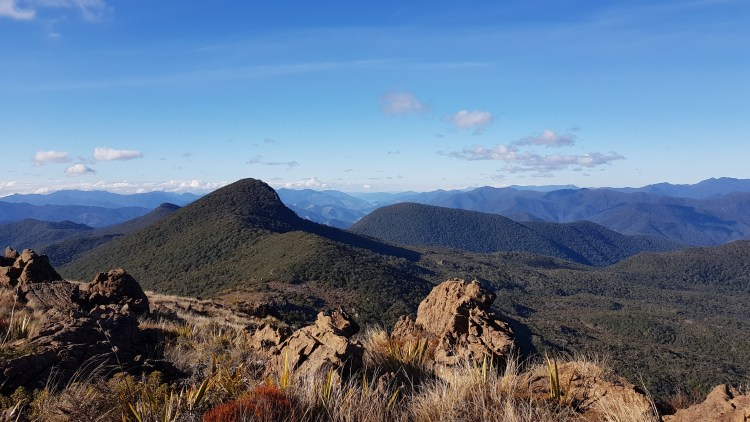 Looking back to Little Twin from Dun Mountain