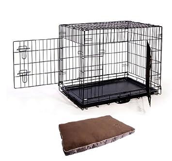 cage caisse de transport chien en ma tal pliante 2 portes noir 75x53x61cm avec lit coussin neuf 03 yuiolkjhgftgyhgf